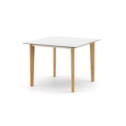 """DEDON Diningtisch 100x100 cm """"AIIR"""", Gestell Teak, Tischplatte HPL white"""