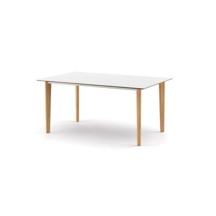 """DEDON Diningtisch 160x100 cm """"AIIR"""", Gestell Teak, Tischplatte HPL white"""