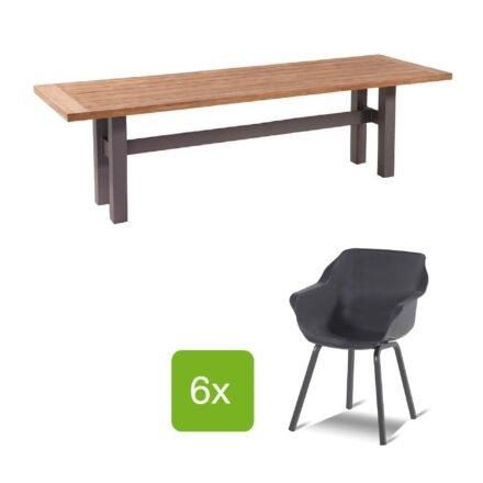 """Hartman Gartenmöbel-Set mit Stuhl """"Sophie Element"""" und Gartentisch """"Yasmani"""", Gestelle Aluminium xerix, Sitz Kunststoff xerix, Tischplatte Teakholz"""