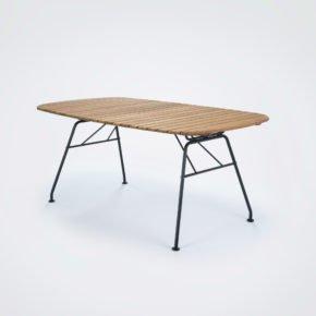 "Houe Dining-Tisch ""Beam"", Gestell Stahl schwarz pulverbeschichtet, Tischplatte Bambuslamellen"