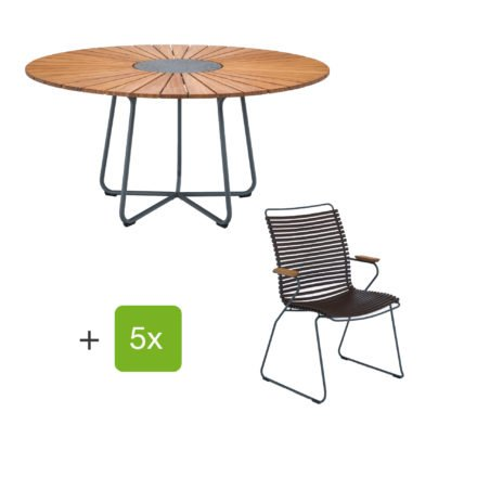 "Houe Gartenmöbel-Set mit Tisch ""Circle"" und Stapelsesessel hoch ""Click"", Lamellen dunkelbraun"