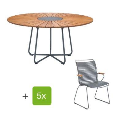"""Houe Gartenmöbel-Set mit Tisch """"Circle"""" und Stapelsesessel hoch """"Click"""", Lamellen dunkelgrau"""