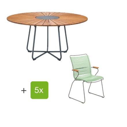 """Houe Gartenmöbel-Set mit Tisch """"Circle"""" und Stapelsesessel hoch """"Click"""", Lamellen dusty green"""