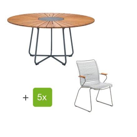 """Houe Gartenmöbel-Set mit Tisch """"Circle"""" und Stapelsesessel hoch """"Click"""", Lamellen grau"""