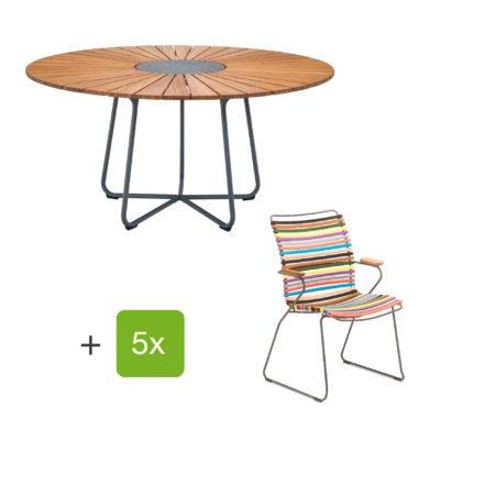 """Houe Gartenmöbel-Set mit Tisch """"Circle"""" und Stapelsesessel hoch """"Click"""", Lamellen multicolor 1"""