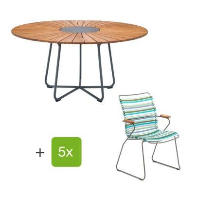 """Houe Gartenmöbel-Set mit Tisch """"Circle"""" und Stapelsesessel hoch """"Click"""", Lamellen multicolor 2"""