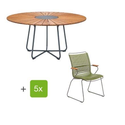 """Houe Gartenmöbel-Set mit Tisch """"Circle"""" und Stapelsesessel hoch """"Click"""", Lamellen olivgrün"""