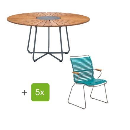 "Houe Gartenmöbel-Set mit Tisch ""Circle"" und Stapelsesessel hoch ""Click"", Lamellen petrol"