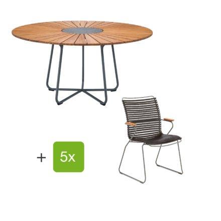 """Houe Gartenmöbel-Set mit Tisch """"Circle"""" und Stapelsesessel hoch """"Click"""", Lamellen schwarz"""