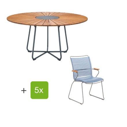 """Houe Gartenmöbel-Set mit Tisch """"Circle"""" und Stapelsesessel hoch """"Click"""", Lamellen taubenblau"""