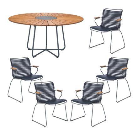 """Houe Gartenmöbel-Set mit Tisch """"Circle"""" und Stapelsesessel """"Click"""", Lamellen dunkelblau"""