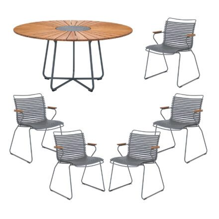 "Houe Gartenmöbel-Set mit Tisch ""Circle"" und Stapelsesessel ""Click"", Lamellen dunkelgrau"