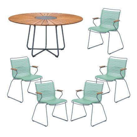 """Houe Gartenmöbel-Set mit Tisch """"Circle"""" und Stapelsesessel """"Click"""", Lamellen dusty green"""