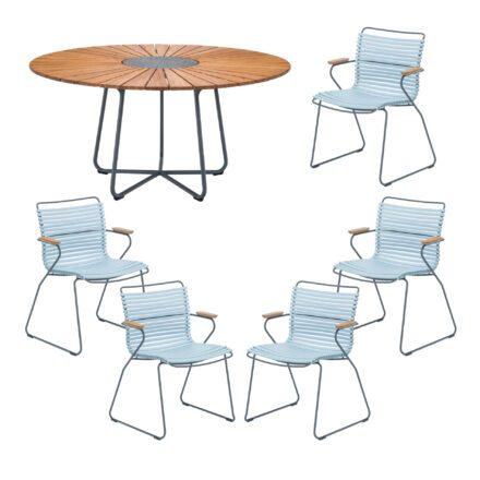 "Houe Gartenmöbel-Set mit Tisch ""Circle"" und Stapelsesessel ""Click"", Lamellen dusty ligh blue"
