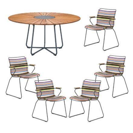 """Houe Gartenmöbel-Set mit Tisch """"Circle"""" und Stapelsesessel """"Click"""", Lamellen multicolor 1"""
