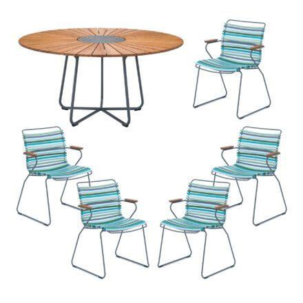 """Houe Gartenmöbel-Set mit Tisch """"Circle"""" und Stapelsesessel """"Click"""", Lamellen multicolor 2"""