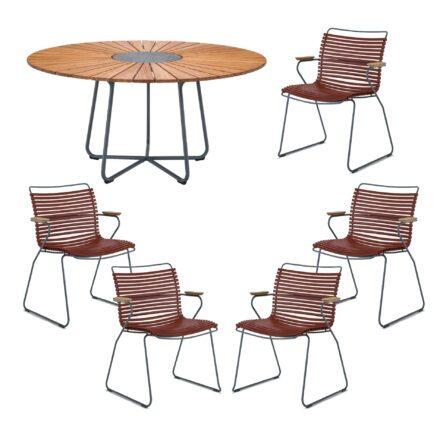 """Houe Gartenmöbel-Set mit Tisch """"Circle"""" und Stapelsesessel """"Click"""", Lamellen paprika"""