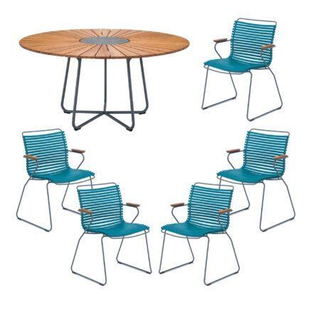 "Houe Gartenmöbel-Set mit Tisch ""Circle"" und Stapelsesessel ""Click"", Lamellen petrol"