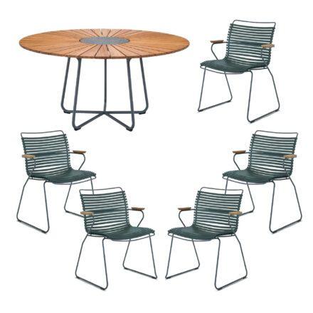"""Houe Gartenmöbel-Set mit Tisch """"Circle"""" und Stapelsesessel """"Click"""", Lamellen pine green"""