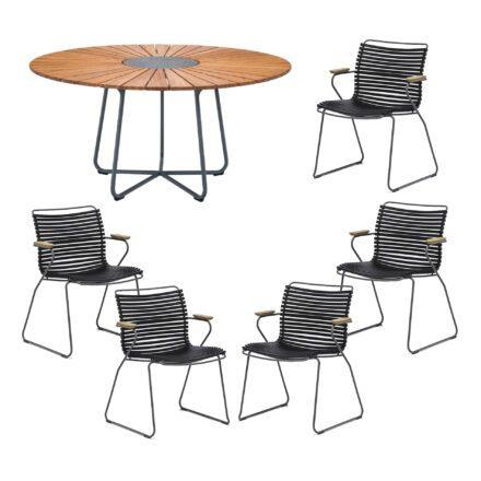 """Houe Gartenmöbel-Set mit Tisch """"Circle"""" und Stapelsesessel """"Click"""", Lamellen schwarz"""