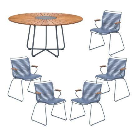 """Houe Gartenmöbel-Set mit Tisch """"Circle"""" und Stapelsesessel """"Click"""", Lamellen taubenblau"""