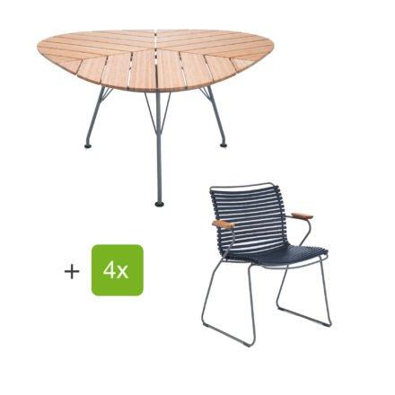 """Houe Gartenmöbel-Set mit Tisch """"Leaf"""" und Stapelsessel """"Click"""", Lamellen dunkelblau"""