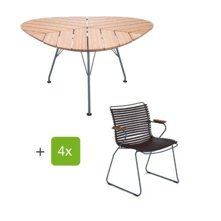 """Houe Gartenmöbel-Set mit Tisch """"Leaf"""" und Stapelsessel """"Click"""", Lamellen dusty dunkelbraun"""