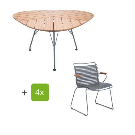 """Houe Gartenmöbel-Set mit Tisch """"Leaf"""" und Stapelsessel """"Click"""", Lamellen dunkelgrau"""