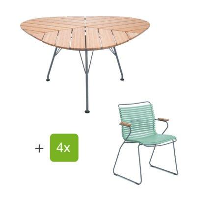"""Houe Gartenmöbel-Set mit Tisch """"Leaf"""" und Stapelsessel """"Click"""", Lamellen dusty green"""