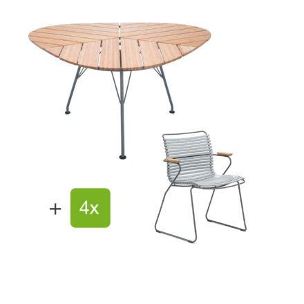 """Houe Gartenmöbel-Set mit Tisch """"Leaf"""" und Stapelsessel """"Click"""", Lamellen grau"""