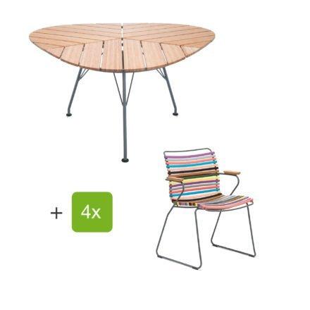 """Houe Gartenmöbel-Set mit Tisch """"Leaf"""" und Stapelsessel """"Click"""", Lamellen multicolor 1"""