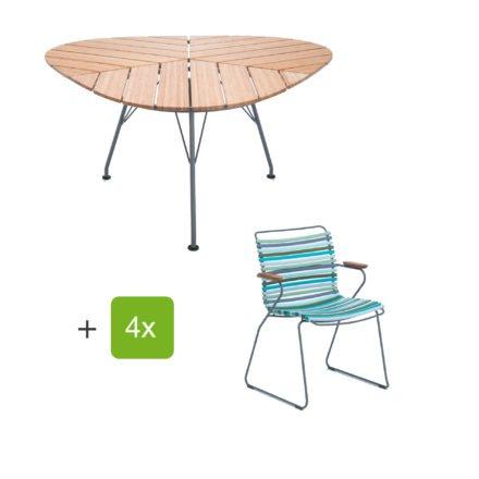 """Houe Gartenmöbel-Set mit Tisch """"Leaf"""" und Stapelsessel """"Click"""", Lamellen multicolor 2"""