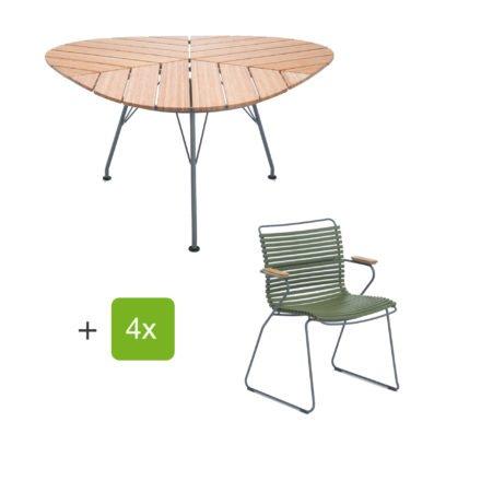 """Houe Gartenmöbel-Set mit Tisch """"Leaf"""" und Stapelsessel """"Click"""", Lamellen olivgrün"""
