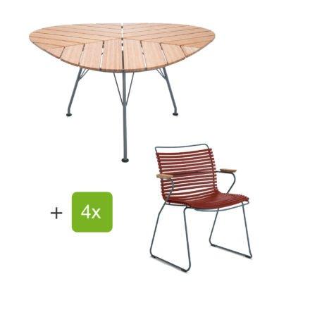 """Houe Gartenmöbel-Set mit Tisch """"Leaf"""" und Stapelsessel """"Click"""", Lamellen paprika"""