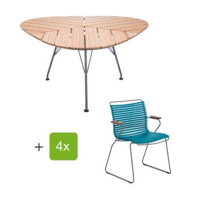 """Houe Gartenmöbel-Set mit Tisch """"Leaf"""" und Stapelsessel """"Click"""", Lamellen dusty petrol"""
