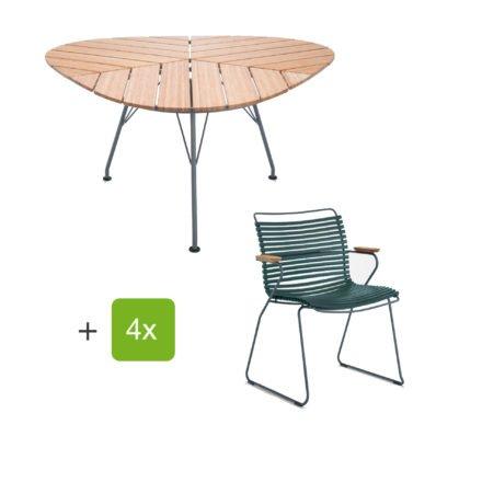 """Houe Gartenmöbel-Set mit Tisch """"Leaf"""" und Stapelsessel """"Click"""", Lamellen pine green"""