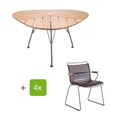 """Houe Gartenmöbel-Set mit Tisch """"Leaf"""" und Stapelsessel """"Click"""", Lamellen plum"""