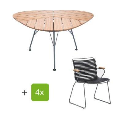 """Houe Gartenmöbel-Set mit Tisch """"Leaf"""" und Stapelsessel """"Click"""", Lamellen schwarz"""