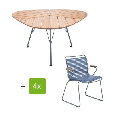 """Houe Gartenmöbel-Set mit Tisch """"Leaf"""" und Stapelsessel """"Click"""", Lamellen taubenblau"""