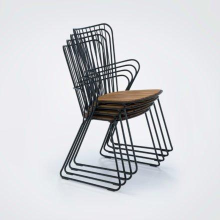 "Houe Diningstuhl ""Paon"", Gestell Stahl pulverbeschichtet, Sitzfläche Bambus"