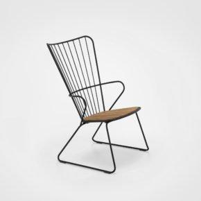 """Houe """"Paon"""" Loungechair, Stahl schwarz, Sitzfläche Bambus"""