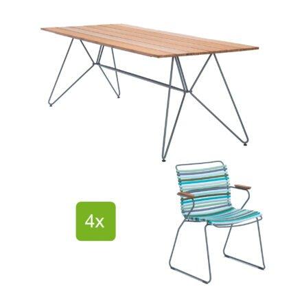 """Houe Gartentisch """"Sketch"""" 220x88 cm mit 4 Stühlen """"Click"""", Lamellen multi color 2"""