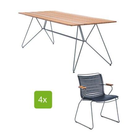 """Houe Gartentisch """"Sketch"""" 220x88 cm mit 4 Stühlen """"Click"""", Lamellen dunkelblau"""