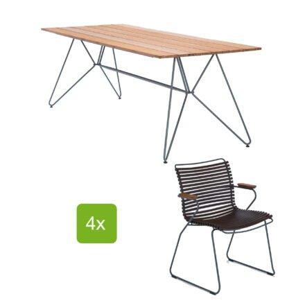 """Houe Gartentisch """"Sketch"""" 220x88 cm mit 4 Stühlen """"Click"""", Lamellen dunkelbraun"""