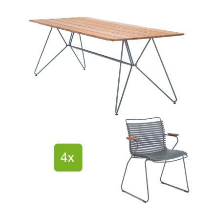"""Houe Gartentisch """"Sketch"""" 220x88 cm mit 4 Stühlen """"Click"""", Lamellen dunkelgrau"""