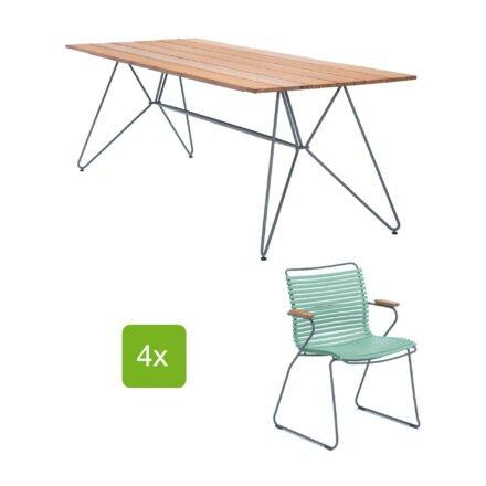 """Houe Gartentisch """"Sketch"""" 220x88 cm mit 4 Stühlen """"Click"""", Lamellen dusty green"""