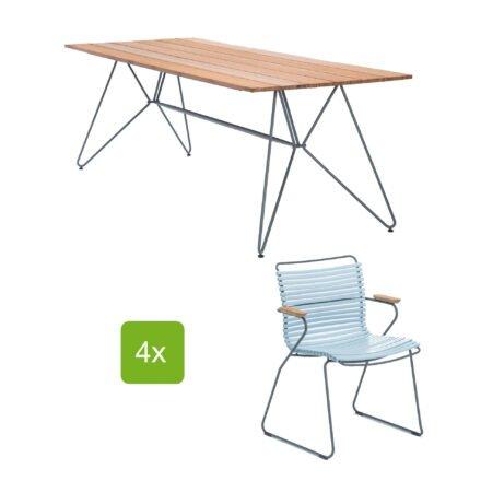 """Houe Gartentisch """"Sketch"""" 220x88 cm mit 4 Stühlen """"Click"""", Lamellen dusty light blue"""