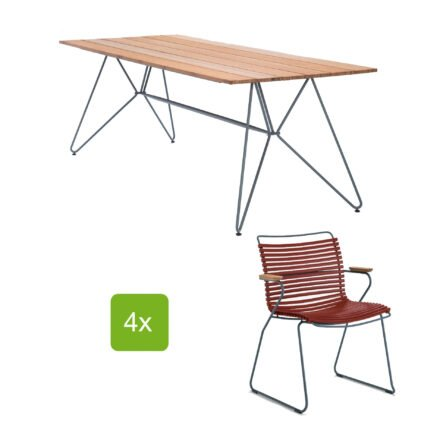 """Houe Gartentisch """"Sketch"""" 220x88 cm mit 4 Stühlen """"Click"""", Lamellen paprika"""