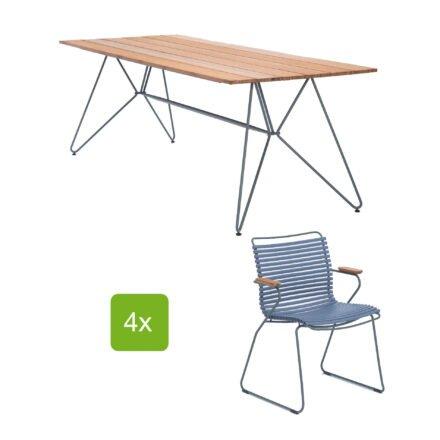 """Houe Gartentisch """"Sketch"""" 220x88 cm mit 4 Stühlen """"Click"""", Lamellen pigeon blue"""