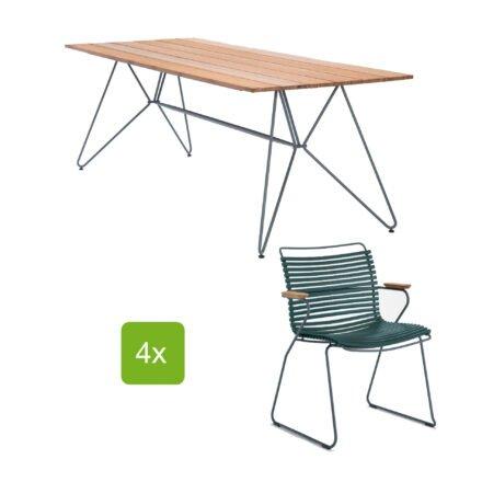 """Houe Gartentisch """"Sketch"""" 220x88 cm mit 4 Stühlen """"Click"""", Lamellen pine green"""